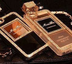 Bling Chanel samsung S6 perfme bottle case black and gold
