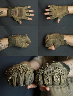 post apocalyptic gloves / wasteland wear / dystopia / texture / layers / details / cosplay / LARP / SO KICKASS :D Post Apocalyptic Clothing, Post Apocalyptic Costume, Post Apocalyptic Fashion, Post Apocalypse, Apocalypse Fashion, Larp, Dystopia Rising, Dystopian Fashion, Wasteland Weekend