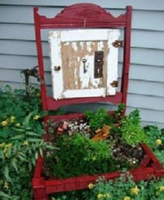 great place for a fairy garden   An old red chair upcycled into a container garden - who needs garden art when you're this creative? | The Micro Gardener
