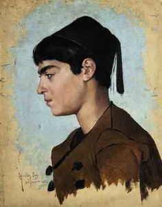 'Young man with fes', by Osman Hamdi Bey. Late 19th century.