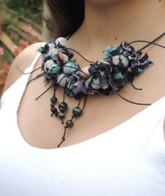 Fabric Necklace Textile necklace Black and by AmazoniaAccessories, €37.00