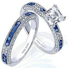 A pretty diamond and sapphire wedding ring set.