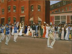 "Allan Rohan Crite ""Parade on Hammond Street"" - (""To See as Artists See: American Art from The Phillips Collection"" ~ Washington, DC, USA @ Tampa Museum of Art ~ Tampa, Florida, USA) Taft Museum, Visual Thinking Strategies, Tampa Museum Of Art, Framing Canvas Art, Black Art Painting, Phillips Collection, Visual Learning, Russian Painting, Poster Prints"