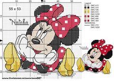"Photo from album ""Schemi - Natalia/ Схемы - Natalia"" on Yandex. Cross Stitch Fairy, Cross Stitch Bookmarks, Cross Stitch Charts, Cross Stitch Patterns, Minnie Baby, Mickey Y Minnie, Disney Stitch, Embroidery Patterns, Crochet Patterns"