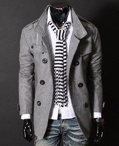 2014 winter/spring Modern Grey Pea Coat Is Aweeesome!!!!!