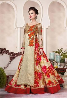 Cream designer wear floral lehenga with long embroidered choli D16378