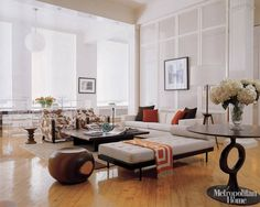 Sin: Slavishly Following Trends (Elle Decor) -- love the time-worn wood floors, laid on the diagonal