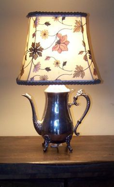 Silver Teapot Lamp w/ custom shade Tea Cup Lamp, Teapot Lamp, Lamp Light, Light Up, Organizing Hacks, Farmhouse Lamps, Silver Teapot, Custom Shades, Old Lamps