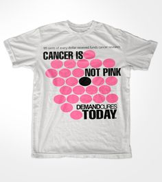 """#Cancer is NOT Pink. Pink does not cure cancer - research can. 99 cents of every dollar fundraised by @DemandCures funds innovative cancer research. We #DemandCures today! T-shirt design by """"Marceloaesse"""""""