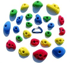 Atomik climbing holds | build a climbing wall at home or for kids. 24 Kids Climbing Holds Wall Pack