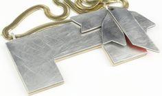 Shelf life series  by Vanessa Arthur - Necklace - wood, aluminium, laminate, 925 silver, chain.