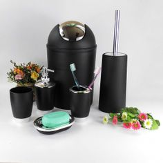 Six-piece Set Plastic Bathroom Accessory Set Lotion Dispenser,Toothbrush Holder,Tumbler Cup,Soap Dish, Trash Can,Toilet Brush