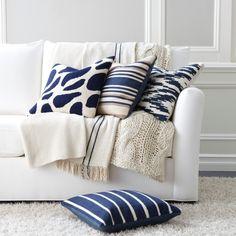 Navy Pebble Wool Pillow - Ethan Allen US