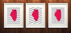 DeKalb, Illinois State Set of Three Giclée Prints - 8x10 - Black and Cardinal University Print - Northern