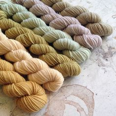 """Natural Dye Exhaust Set 1 from Pigeonroof Studios. """"Exhaust"""" in this case means end of the dye bath. These colors are gorgeous for a last dip. Nicely done Pigeonroof."""