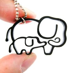 Mother and Baby Elephant Outline Shaped Pendant Necklace in Black Acrylic Mother And Baby Animals, Mother And Baby Elephant, Elephant Family, Mother Tattoos For Children, Tattoos For Kids, Tattoos For Daughters, Cute Giraffe, Cute Elephant, Elephant Art