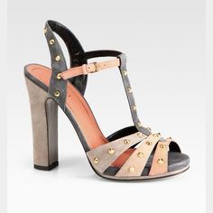 Nwt Gucci Jacquelyne Studded Suede Sandals