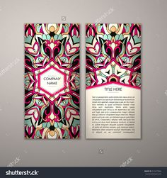 Flyer Template With Abstract Ornament Pattern. Vector Greeting Card Design. Front Page And Back Page. - 515477866 : Shutterstock