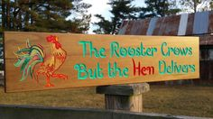 Rooster Crows Hen Delivers Kitchen Decor Farm SignFarmhouse Sign, Farmhouse Decor, Farmhouse Kitchen, Farmhouse Signs, Wooden Sign, Custom
