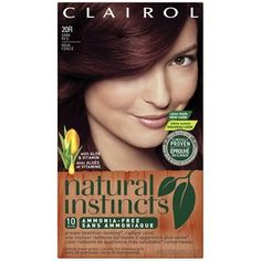 Clairol Natural Instincts Hair Color, Dark Red 20R, Malaysian Cherry. This is a very rich, very dark red. Stage two of my going-red journey. In two months, I'll be going a few shades lighter/brighter. For now, this color is definitely gorgeous!
