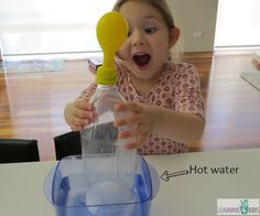 Air Temperature Science Activity for Kids. What happens when a balloon is placed over a bottle that is in turn placed in hot/cold water