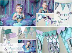 Ombre Turquoise, Purple, Lavender, Aqua, Tutu, Top & Headband- Ocean, Mermaid, Birthday, 1st birthday, Girl, Infant, cake smash, photo prop, party, shirt