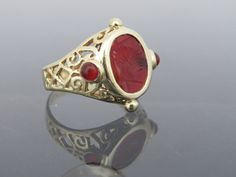Vintage Solid Yellow Gold Red Garnet Intaglio Tagliamonte Ring Size 7 by on Etsy 14k Gold Ring, Gold Rings, Gemstone Rings, Natural Red, Red Garnet, Red Gold, Yellow, Etsy, Vintage