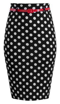 015fc83311f975 Bombshell Polka Dot Pencil Skirt - must have! Potlood Rok Zwart