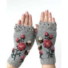 Knitted Fingerless Gloves, Clothing and Accessories,Gloves Mittens,... (€61) ❤ liked on Polyvore featuring accessories, gloves, gray fingerless gloves, hand knit mittens, grey gloves, fingerless mitten gloves and hand knit fingerless gloves