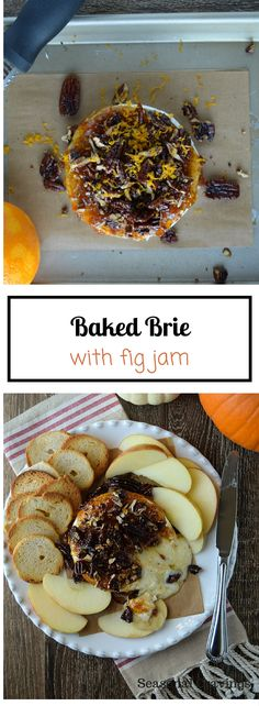 Baked Brie with Fig Jam - a savory and sweet appetizer that is delicious spread… Baked Brie Recipes, Fig Recipes, Cooking Recipes, Easy Recipes, Baked Brie Toppings, Water Recipes, Chicken Recipes, Gluten Free Appetizers, Yummy Appetizers