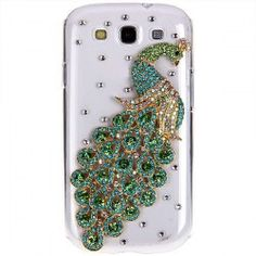 Fashion Rhinestones 3D Green Peacock Design Clear Plastic Hard Case Cover