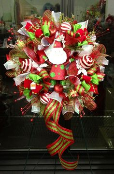 Santa deco mesh wreath by WilliamsFloral on Etsy, $100.00