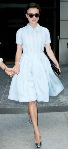 The 11 Celebrities With the Best Feminine Style via WhoWhatWear--- keira knightly in a lovely sky blue dress