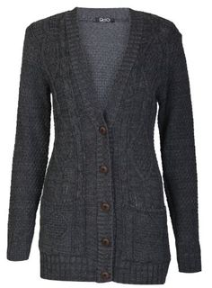 6f512d3dce Aislinn Womens Cable Knitted Grandad Button Cardigan One Size (UK Fits  8-14) · Long Sweater ...