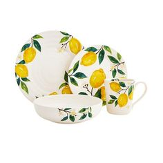 Why wait for citrus season? Our ironstone dinnerware is designed exclusively for Pier 1 with a cheerful lemon motif. Modern Dinnerware, White Dinnerware, Dinnerware Sets, Mini Washing Machine, Lemon Kitchen Decor, Guacamole Recipe, Business Furniture, Dinner Sets, Style And Grace
