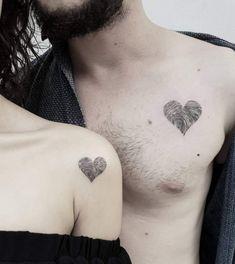 Couples Matching Tattoos for Valentines Day - Fingerprint Heart Tattoo - Paar tattoo - tatowierung Couple Tattoo Heart, Tatoo Heart, Couple Tattoos Love, Tatto Love, Get A Tattoo, Couple Tattoo Ideas, Married Couple Tattoos, Trendy Tattoos, Cute Tattoos