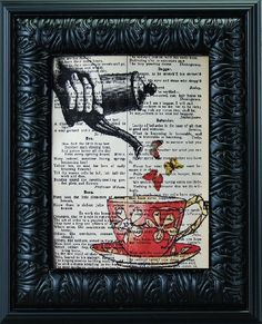 Pour Me A Cup Of Butterflies 8 x 10 Vintage Book Page Print
