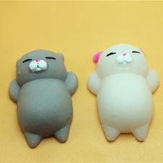 1 stücke Finger Spielzeug Squishy Mini Kawaii Squeeze Stretchy Tier Healing Stress Weiß Grau Katze Tiere Anti-stress Hand spielzeug