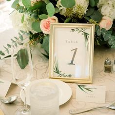 Greenery table number in gold frame for a wedding at The Hotel Zamora | Perfecting the Plan Nautical Wedding, At The Hotel, Table Numbers, Greenery, Table Decorations, Frame, Gold, Home Decor, Picture Frame
