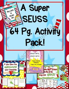 SEUSS Super Pack! 64 Pages! from EngagingLessons on TeachersNotebook.com -  (64 pages)  - SEUSS inspired activities to add to your collection that are NEW and Super engaging!  This pack comes with a 24 page Mad  Science Super Sleuth & the Copy Cat Grinch Mystery Experiment (it is Awesome!), If you Give the Grinch your Friendship activities