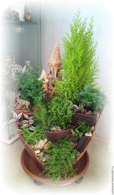 """Купить Каскадный мини-сад в """"разбитом"""" горшке """"Старый замок"""" - зеленый, мини-сад"""