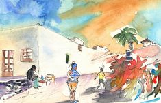 Market In Teguise In Lanzarote 04 Painting by Miki De Goodaboom