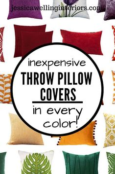 Cheap throw pillow covers are an easy and inexpensive way to change up your living room decor. These stylish throw pillows are colorful, modern, and Boho. Navy Blue Throw Pillows, Modern Throw Pillows, Floral Pillows, Cheap Throw Pillow Covers, Square Pillow Covers, Geometric Throws, Geometric Patterns, Contemporary Cottage, Modern Cottage