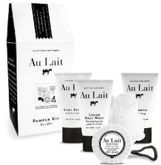 Au Lait Pamper Kit: The Au Lait Pamper Kit is the perfect head-to-toe solution. Each product is a milk enriched treat, perfect for indulgent evenings or as an everyday luxury. Contains Cream Body Wash, Shampoo and Body Butter, Soap and Bath Puff. Cosmetic Packaging, Beauty Packaging, Kit, Soap Company, Milk Bath, Shower Set, Beauty Make Up, Beauty Tips, Body Butter