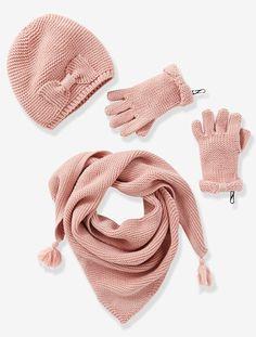 Conjunto bufanda + gorro + manoplas o guantes niña GRIS IRISE+MARFIL+ROSA…