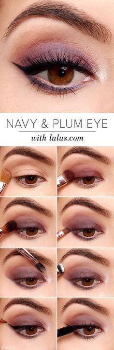 Easy Step by Step Eyeshadow Tutorials for Beginners – Navy and Plum Eye Look