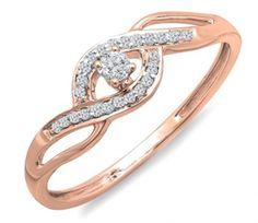 Criss Cross 10k Rose Gold Round Cut Diamond 0.15 Carat (ctw) Promise Ring