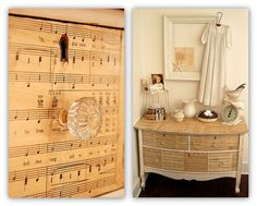 My final example (above) involves sheet music – but not on the wall. Marian Parsons, artist and owner of Mustard Seed Interiors and Miss Mustard Seed's Creative Blog, used Mod Podge to adhere vintage sheet music to a dresser.
