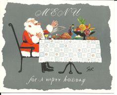 "Vintage Christmas Card Greeting Looart #507 FER Signed Artist Art Card ""Menu"""