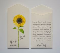 Sunflower Seed Packet Wedding Favor Envelopes - Many Colors Available by Megmichelle on Etsy https://www.etsy.com/listing/236057944/sunflower-seed-packet-wedding-favor